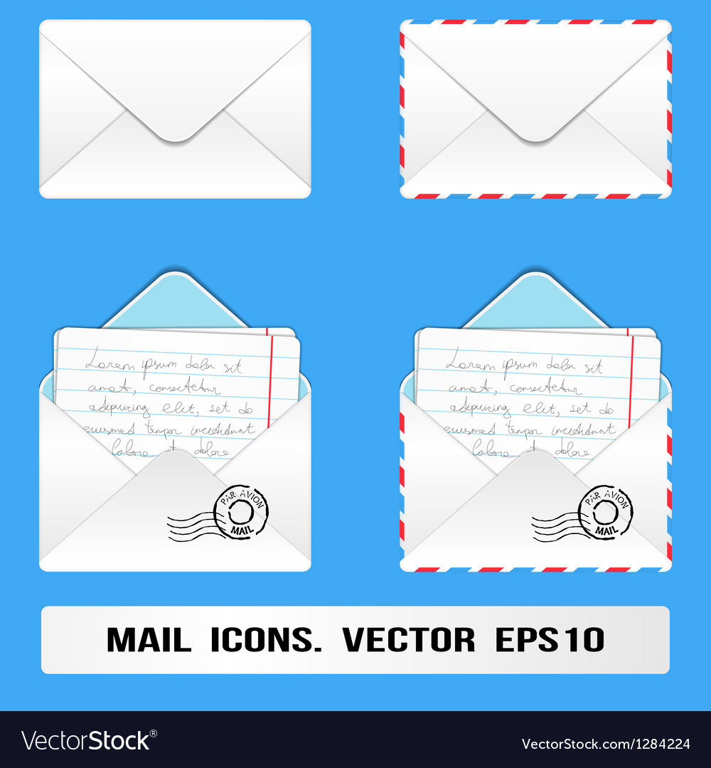 E mail icons set vector | Price: 1 Credit (USD $1)