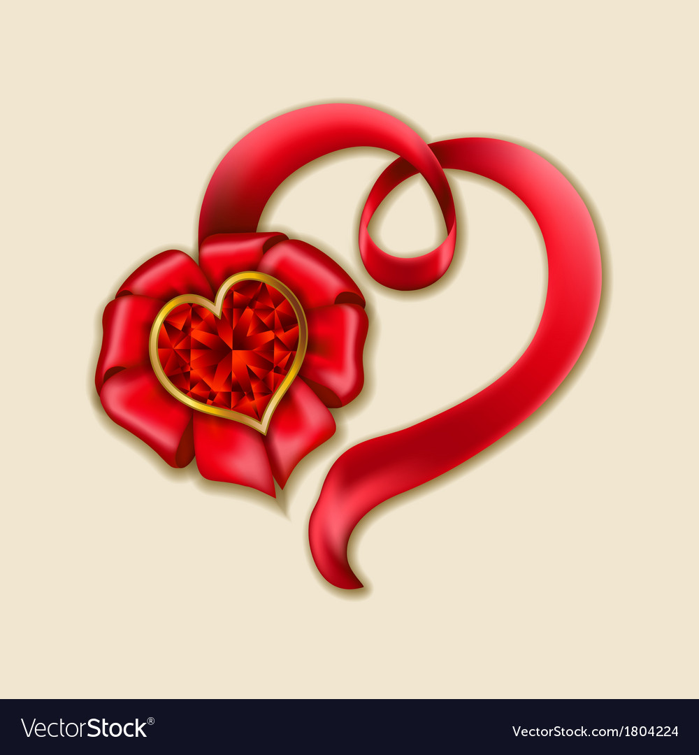 Hearts from ribbon valentines day background vector | Price: 1 Credit (USD $1)
