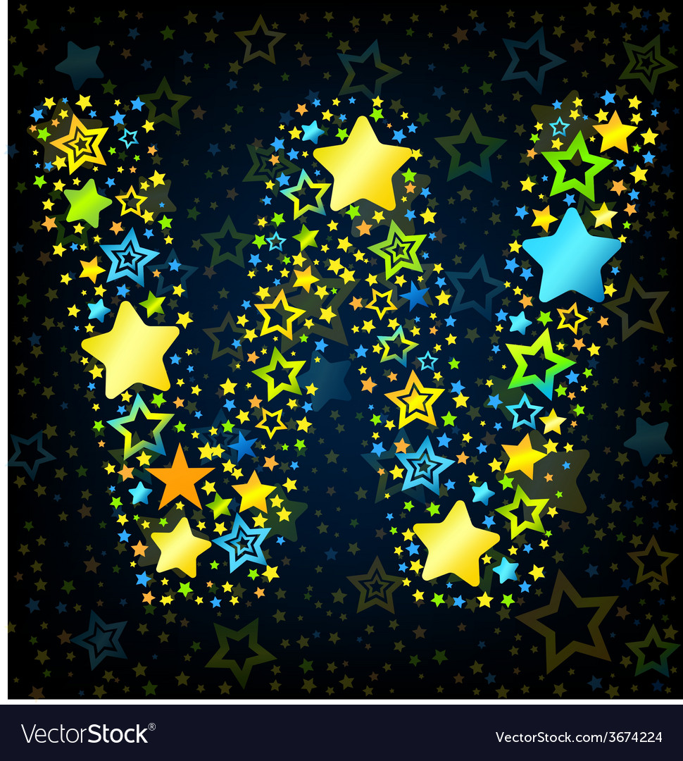 Letter w cartoon star colored vector | Price: 1 Credit (USD $1)