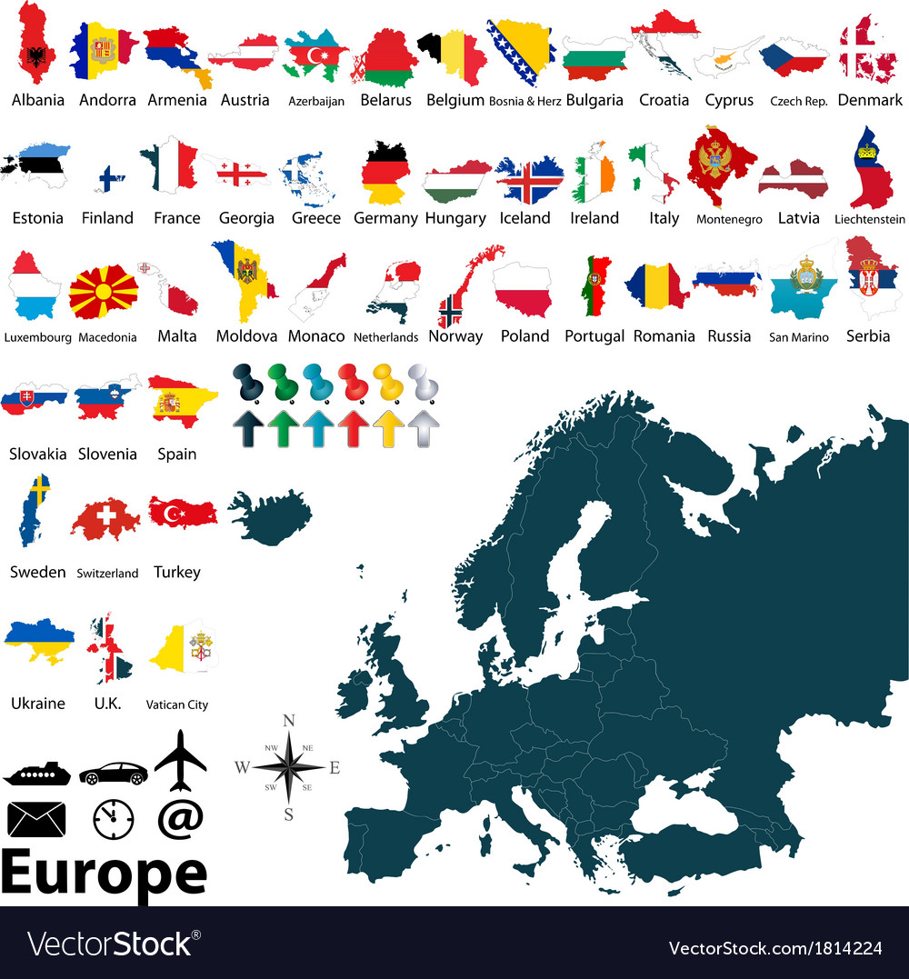 Maps with flags of europe vector | Price: 1 Credit (USD $1)