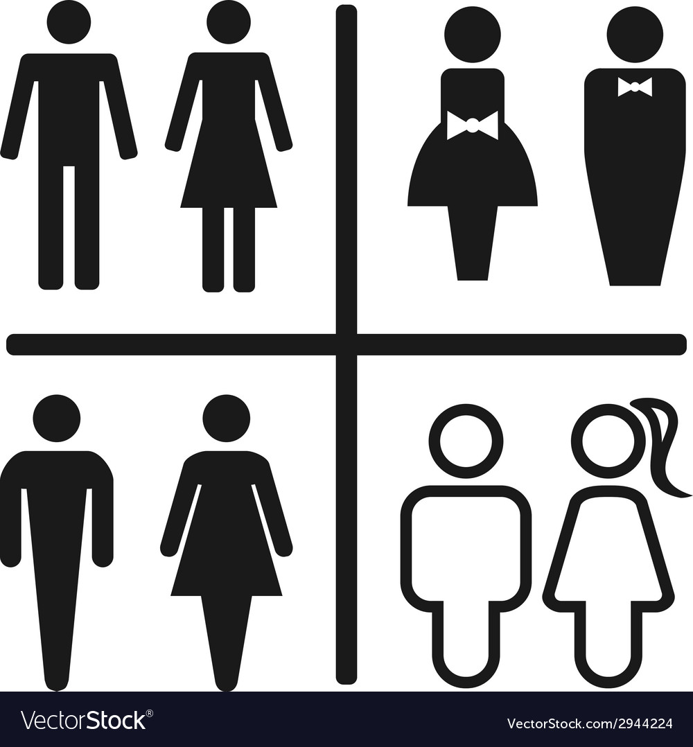 Restroom icon set isolated on white vector | Price: 1 Credit (USD $1)