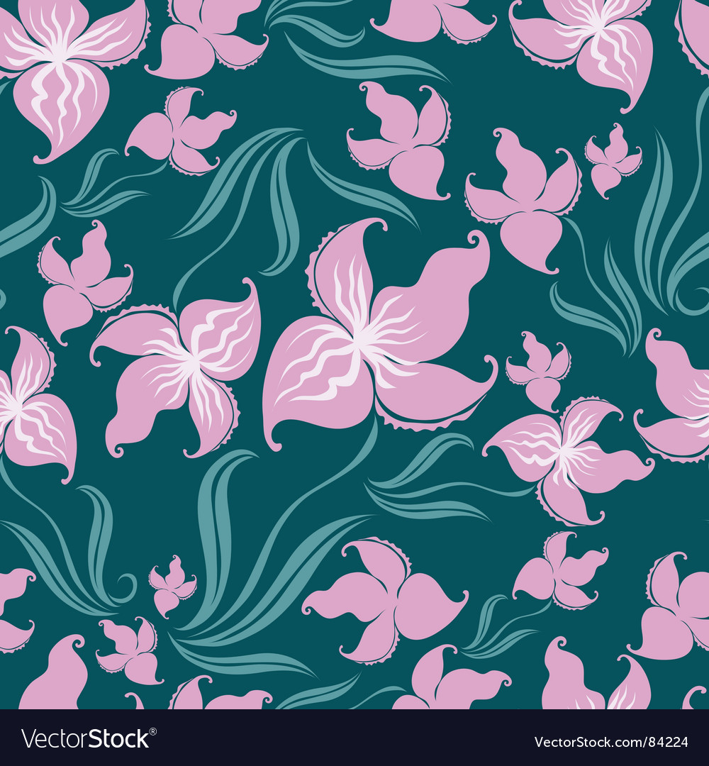 Seamless vintage floral pattern with orchid vector | Price: 1 Credit (USD $1)