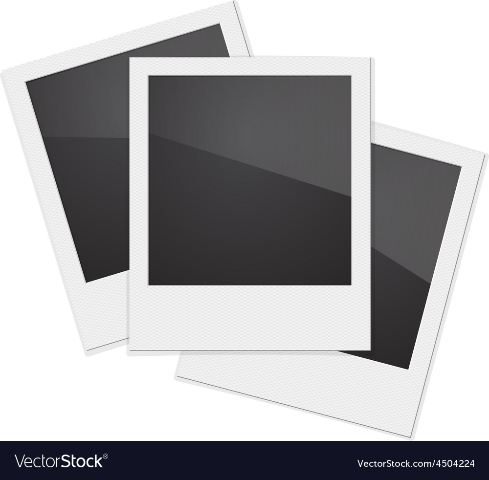 Set retro photo frame polaroid on white vector | Price: 1 Credit (USD $1)