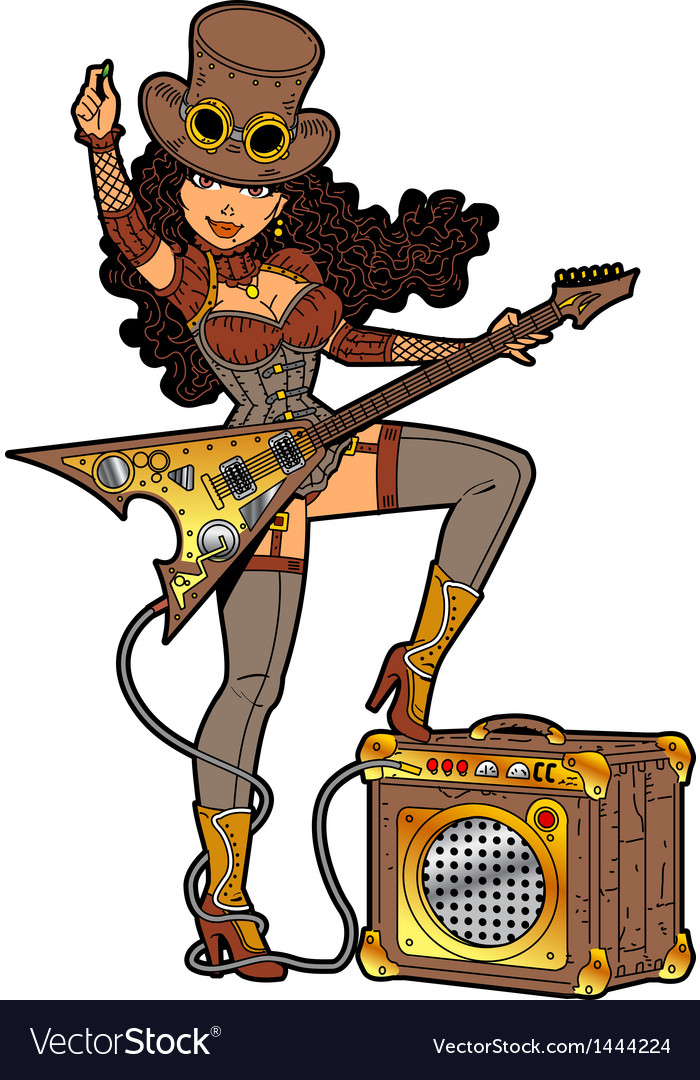 Steampunk with guitar vector