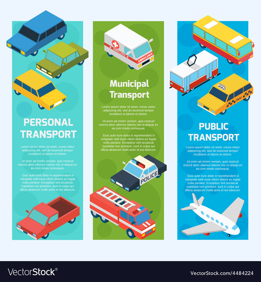 Transport isometric banners vertical vector | Price: 1 Credit (USD $1)