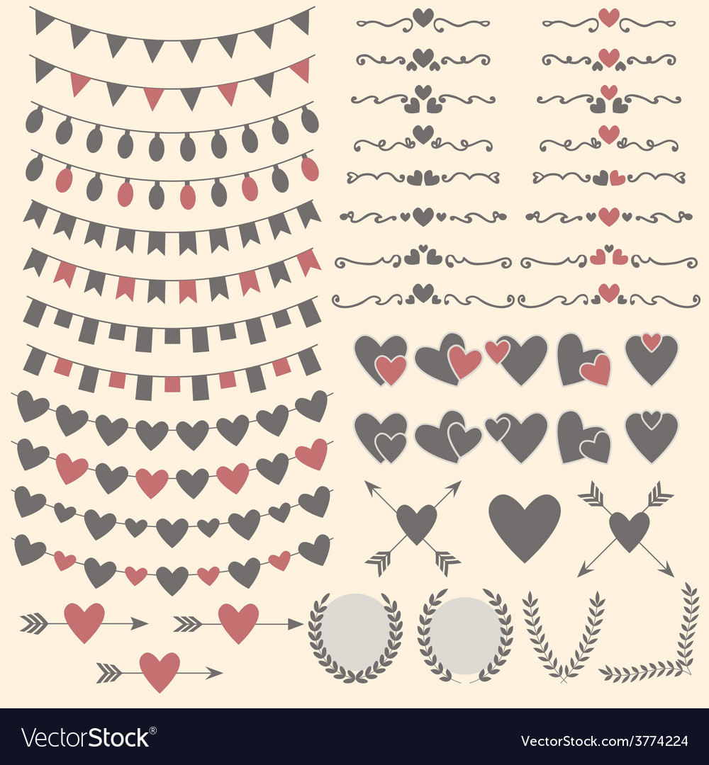 Wedding set of hearts arrows garlands laurel vector | Price: 1 Credit (USD $1)