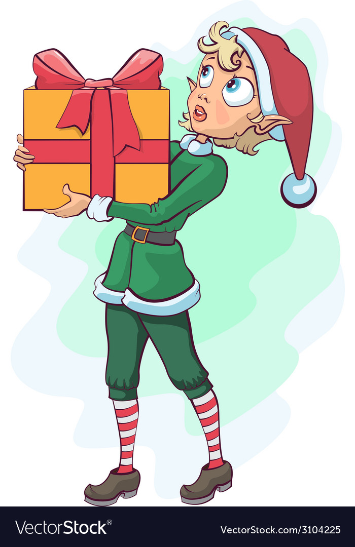 Christmas elf delivers a box with a gift vector | Price: 1 Credit (USD $1)