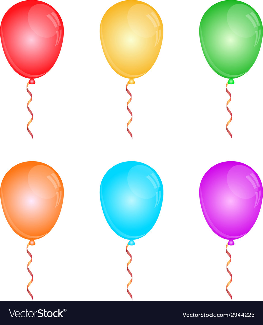 Color glossy balloons on white vector | Price: 1 Credit (USD $1)
