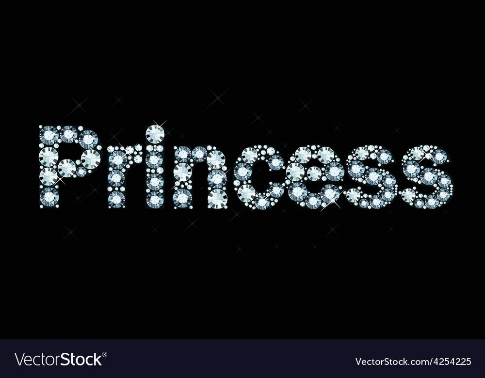 Diamond word princess vector | Price: 1 Credit (USD $1)