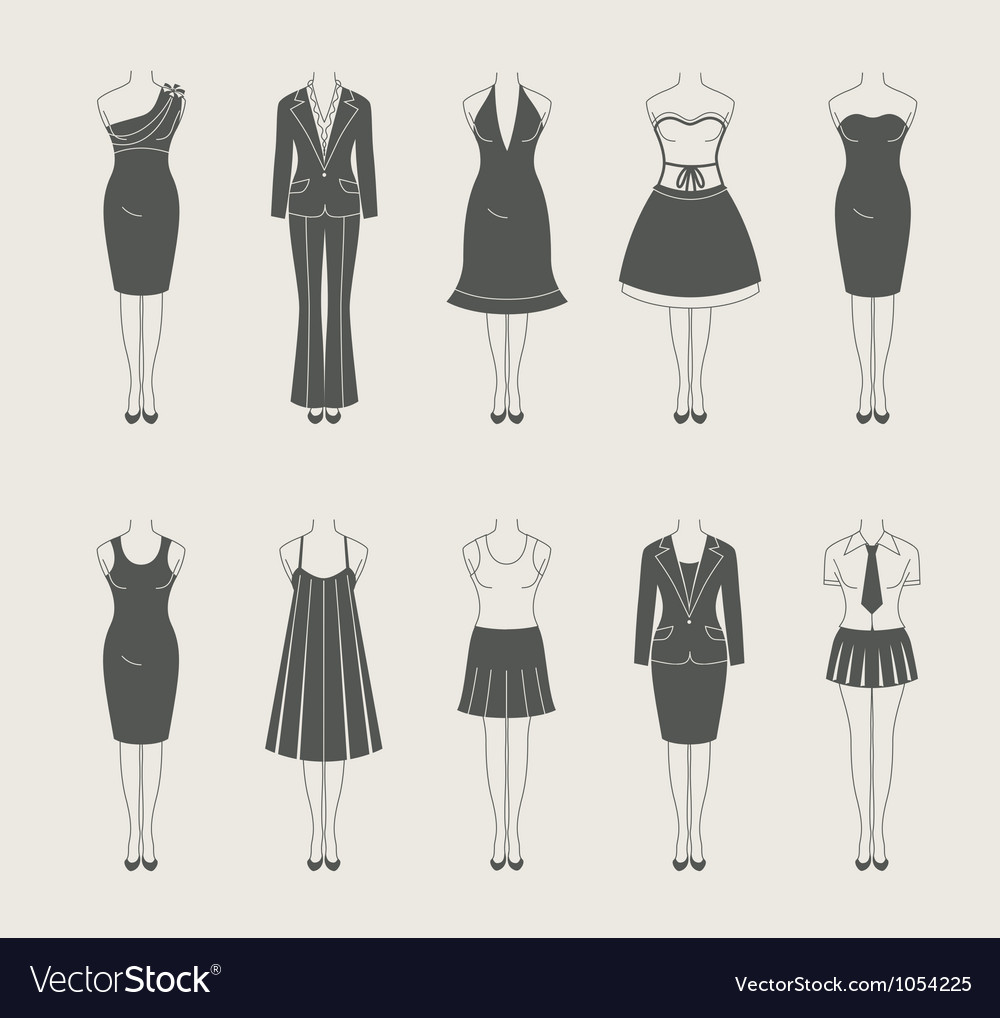 Female clothes set icon vector | Price: 1 Credit (USD $1)