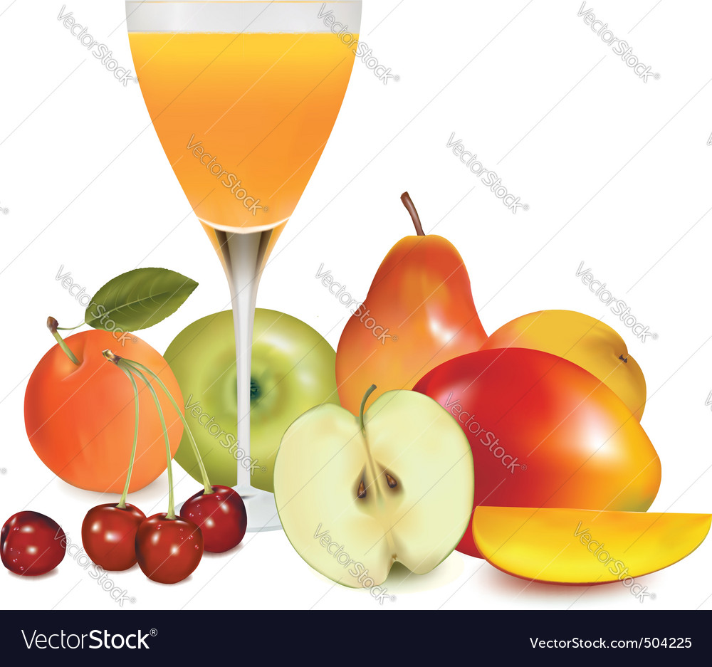 Group of fruit with glass vector | Price: 3 Credit (USD $3)