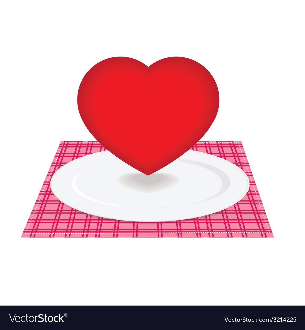 Heart on plate vector | Price: 1 Credit (USD $1)