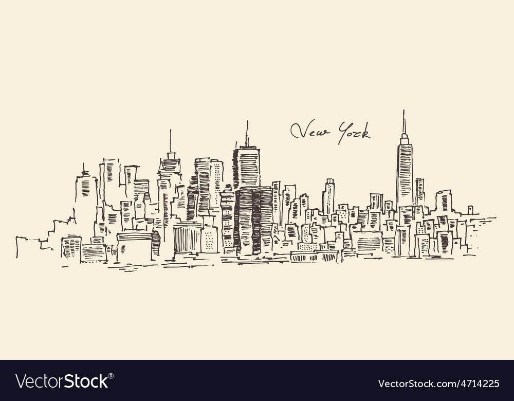 New york city engraving hand d vector | Price: 1 Credit (USD $1)