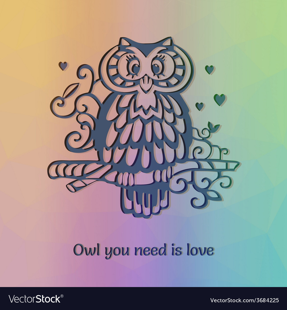 Owl om the branch silhouette with funny statement vector | Price: 1 Credit (USD $1)