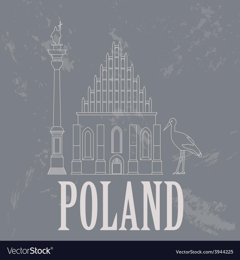 Poland landmarks retro styled image vector | Price: 1 Credit (USD $1)