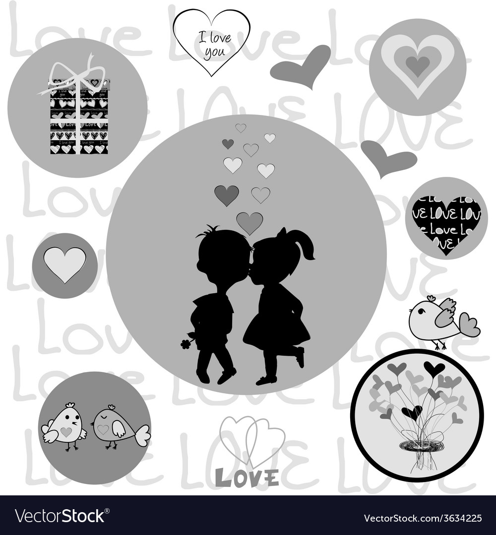 Round frame with valentine elements vector | Price: 1 Credit (USD $1)