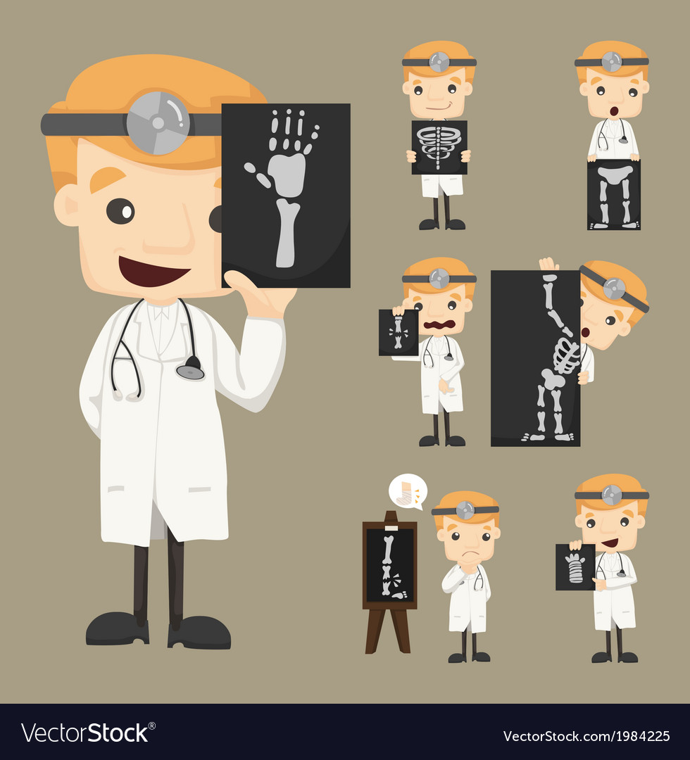 Set of doctor characters with x-ray ultrasound vector | Price: 1 Credit (USD $1)