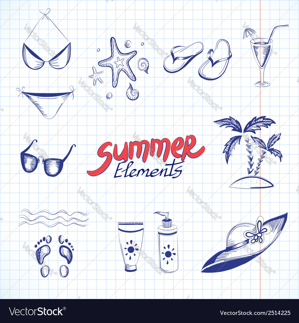 Summer elements for your design vector | Price: 1 Credit (USD $1)