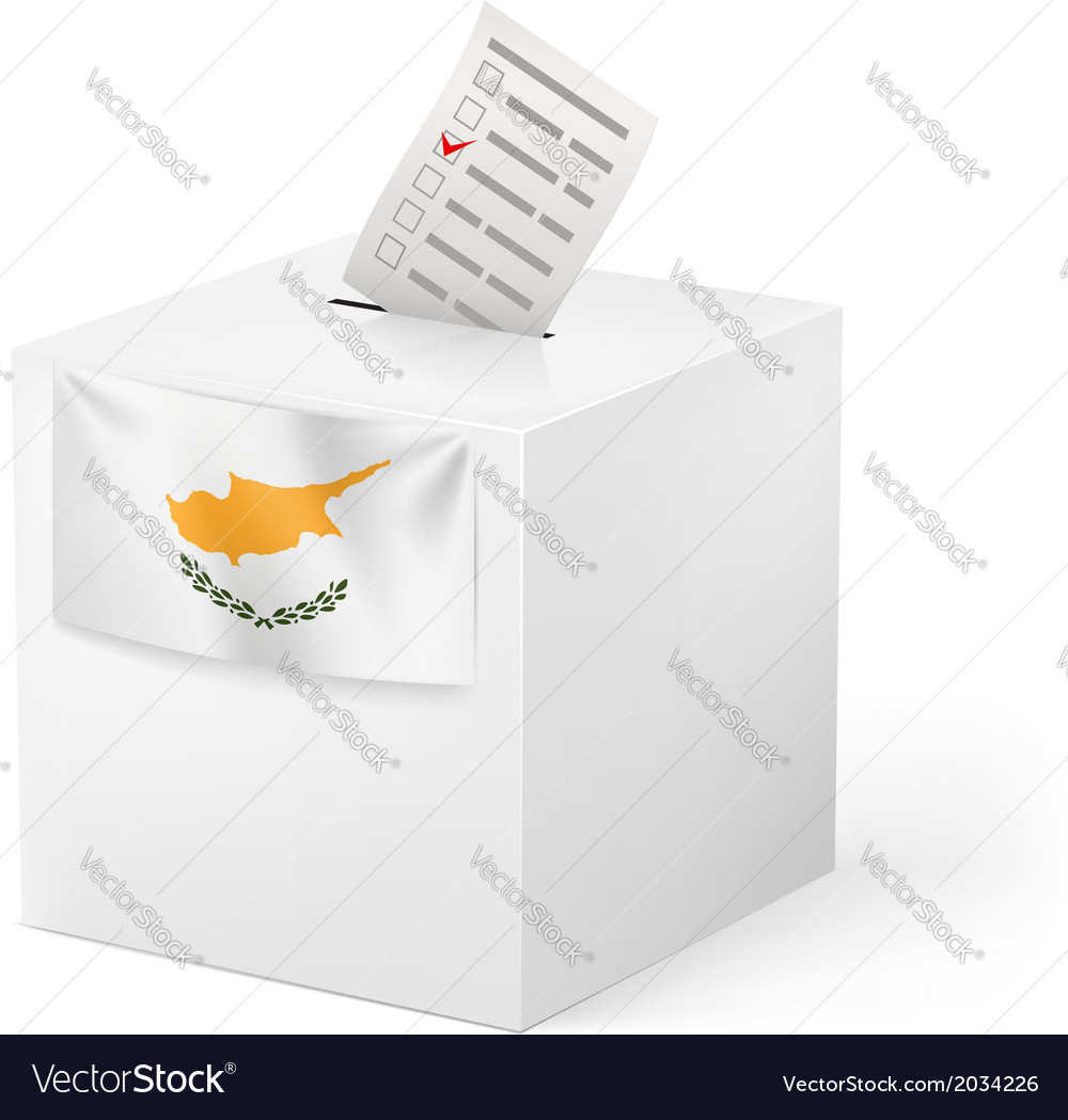 Ballot box with voting paper cyprus vector | Price: 1 Credit (USD $1)