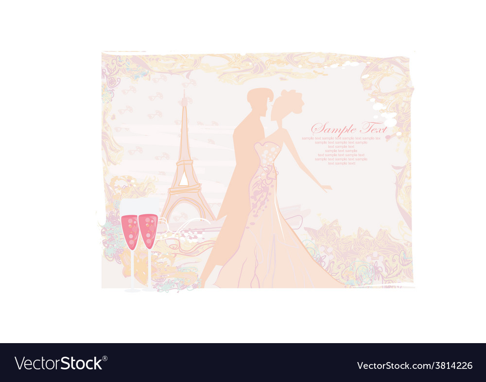 Ballroom dancers silhouette in paris - invitation vector | Price: 1 Credit (USD $1)