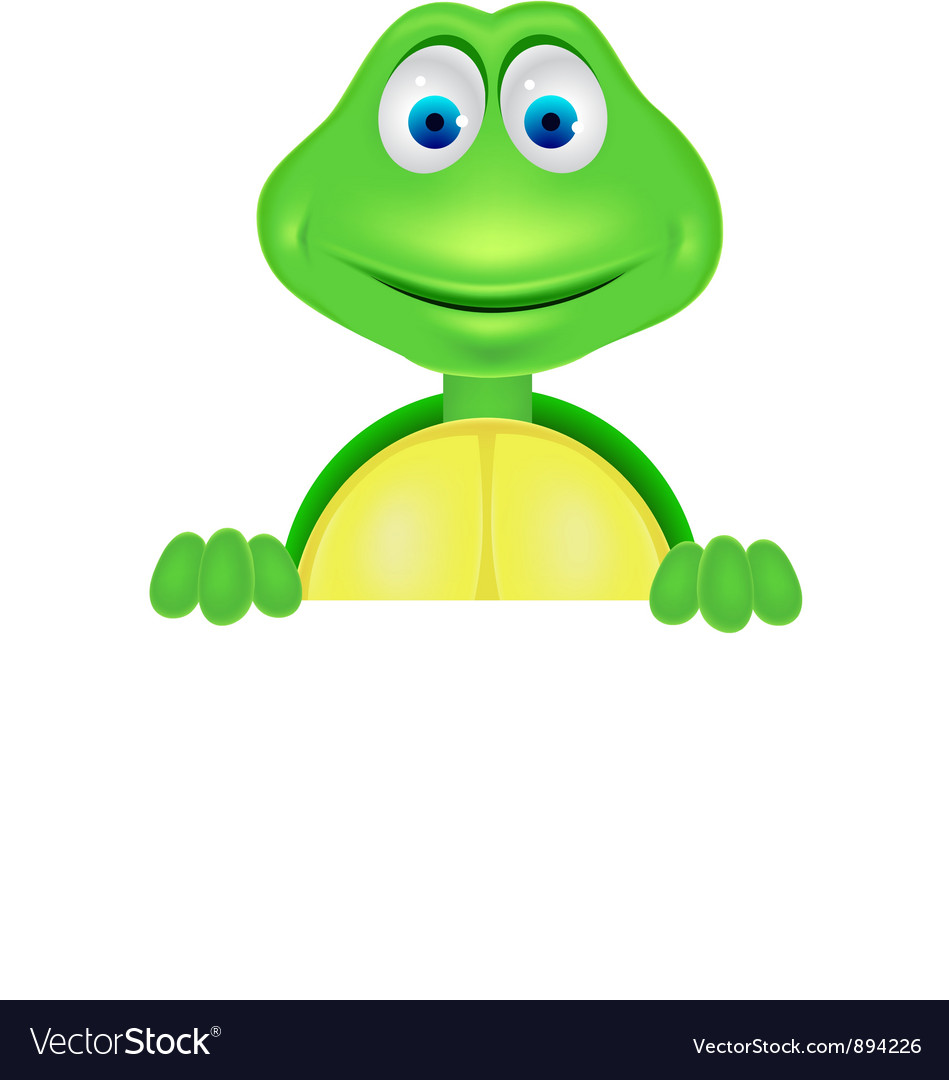 Cute turtle with blank sign vector | Price: 3 Credit (USD $3)