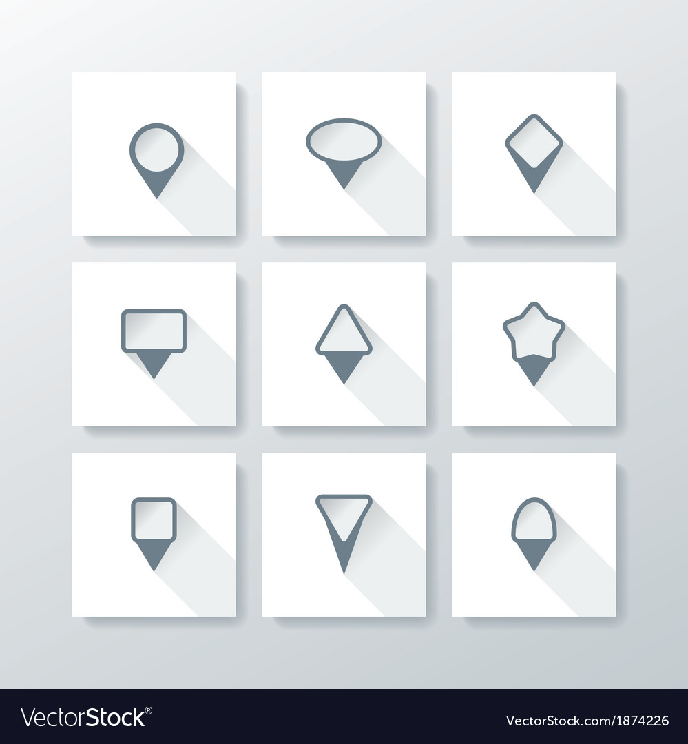 Flat icon set - map pins vector | Price: 1 Credit (USD $1)