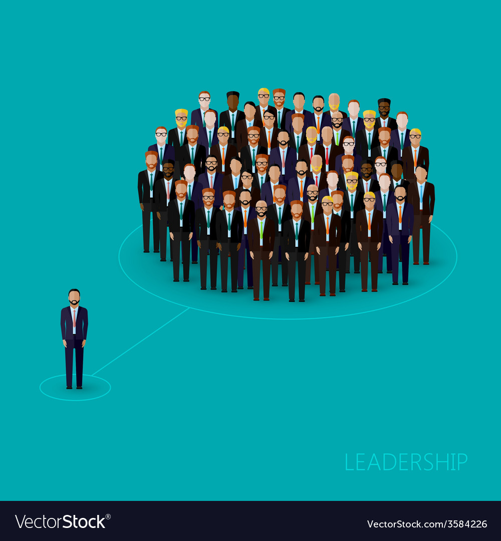 Flat of a leader and a team a crowd of men vector   Price: 1 Credit (USD $1)