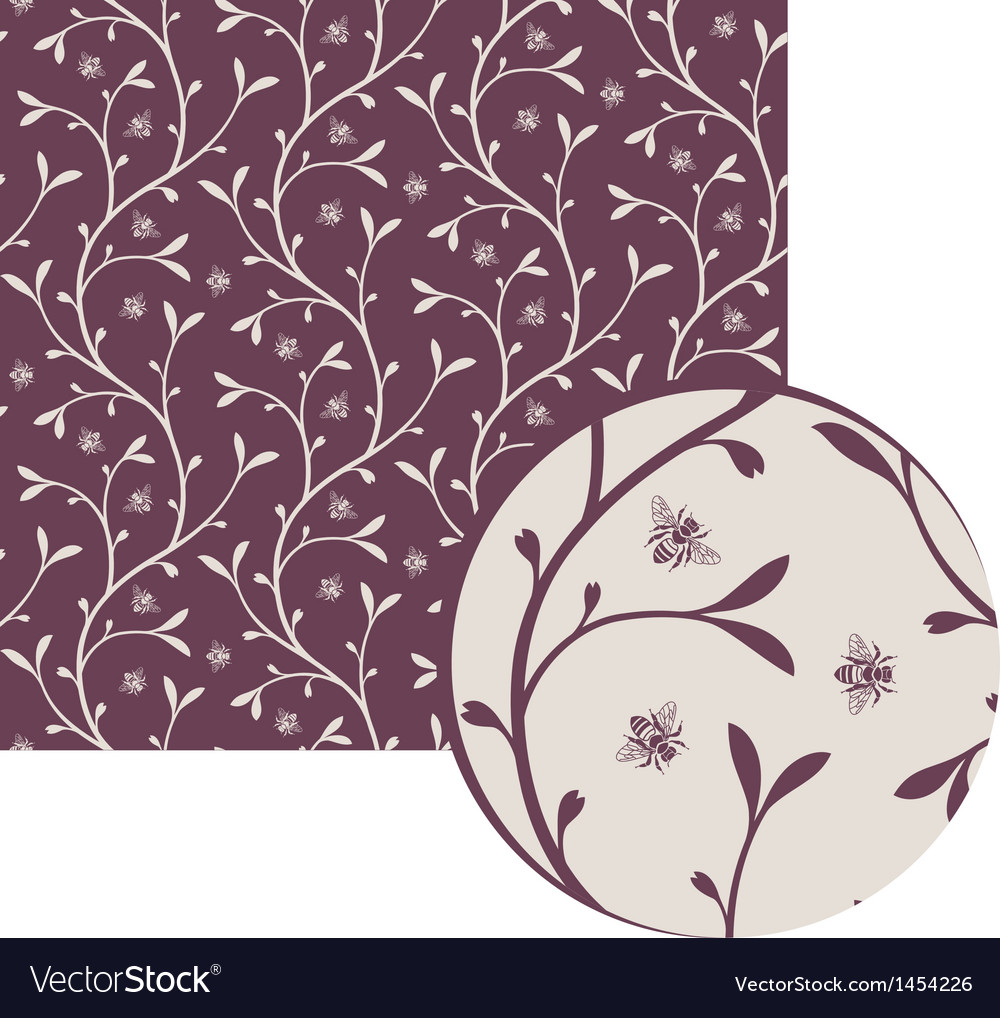 Floral pattern with bees vector   Price: 1 Credit (USD $1)
