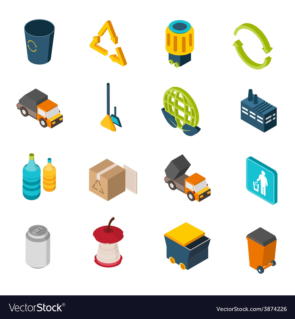 Garbage isometric icons vector | Price: 1 Credit (USD $1)