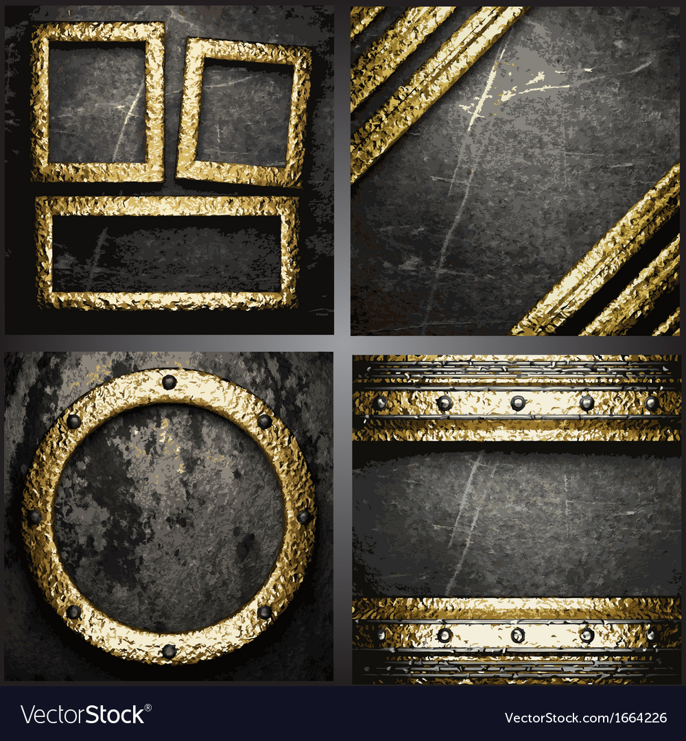 Gold on concrete wall set vector | Price: 1 Credit (USD $1)