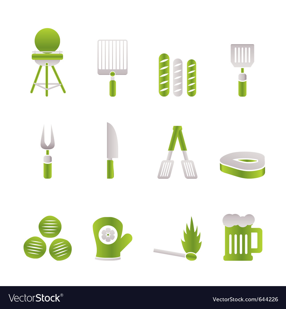 Picnic and barbecue icons vector | Price: 1 Credit (USD $1)