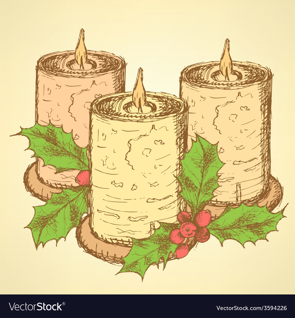 Sketch candle with mistletoe in vintage style vector | Price: 1 Credit (USD $1)