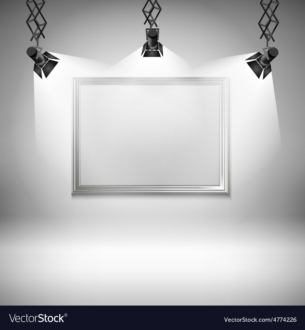 Wall with picture spotlight light spot frame vector | Price: 1 Credit (USD $1)