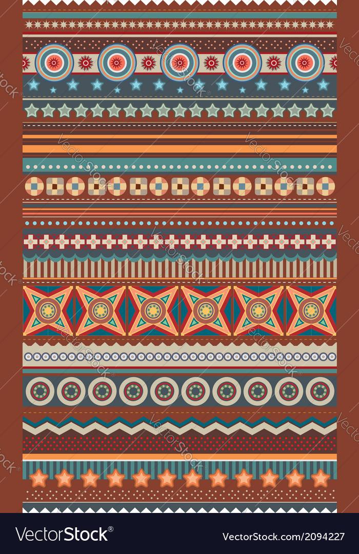 Ethnic various strips motifs in different color vector   Price: 1 Credit (USD $1)