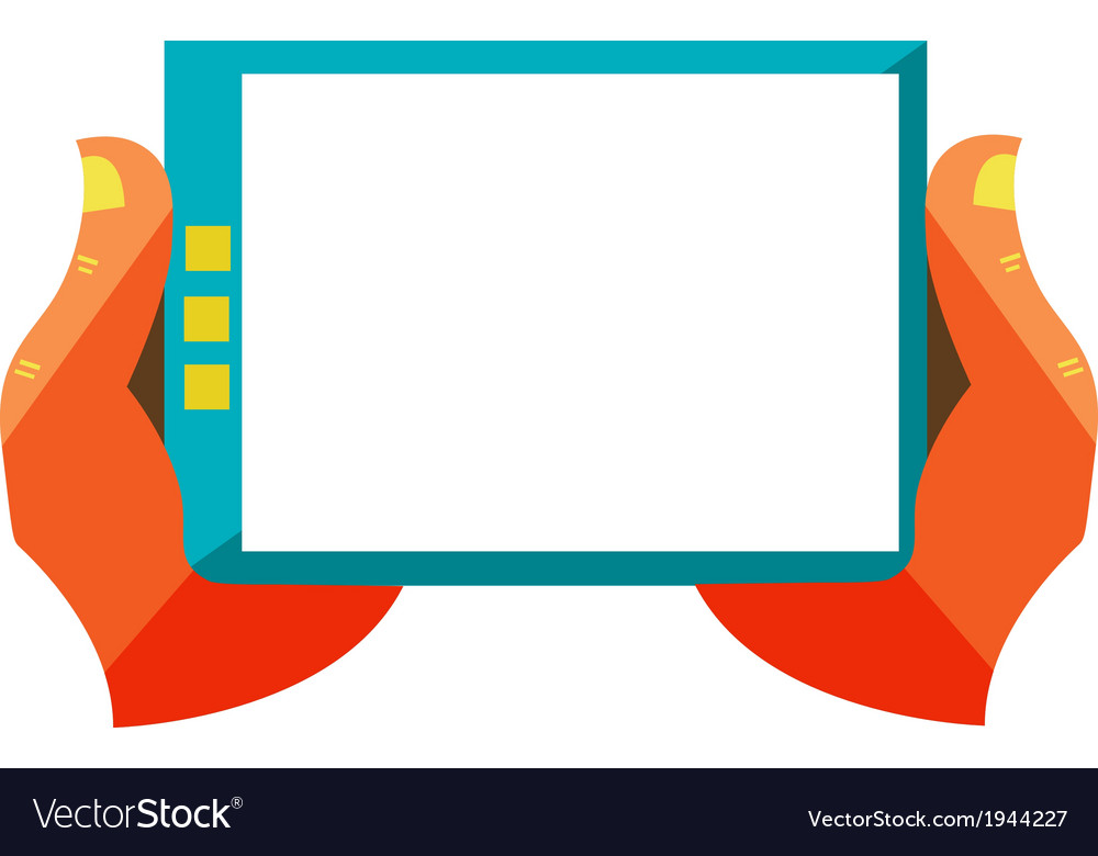Hand touch screen on digital tablet vector | Price: 1 Credit (USD $1)