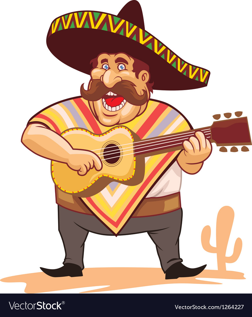 Mexican with sombrero and guitar vector | Price: 3 Credit (USD $3)