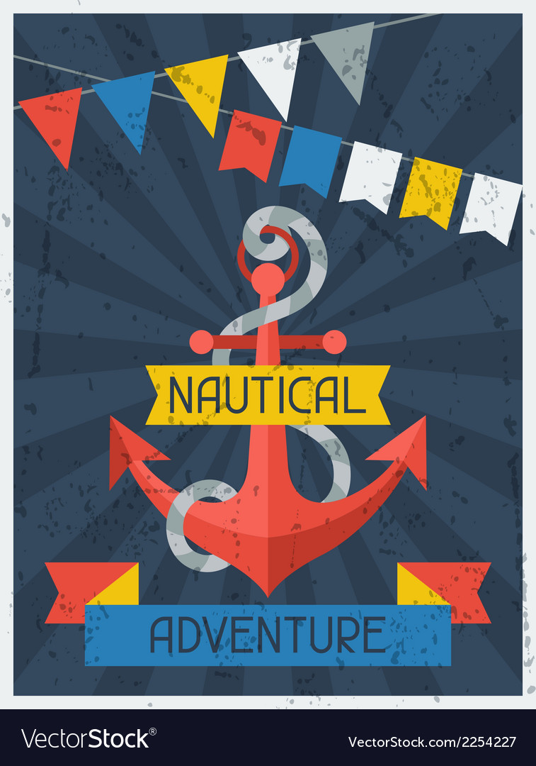 Nautical adventure retro poster in flat design vector | Price: 1 Credit (USD $1)