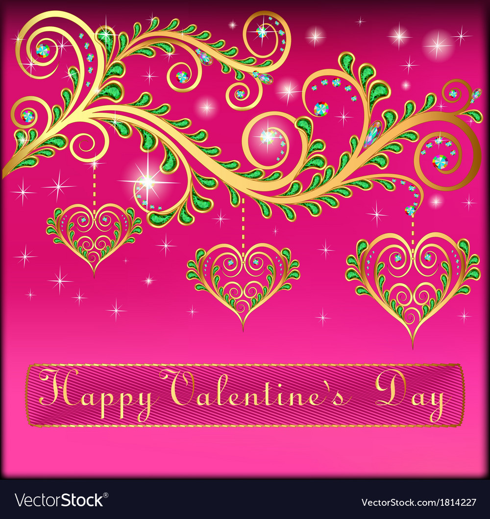 Pink postcard on valentines day with pendants vector | Price: 1 Credit (USD $1)
