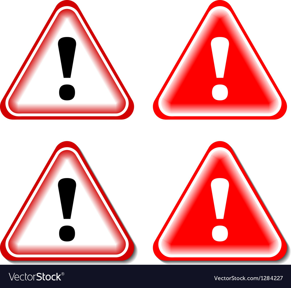 Red exclamation sign danger signs isolated vector | Price: 1 Credit (USD $1)
