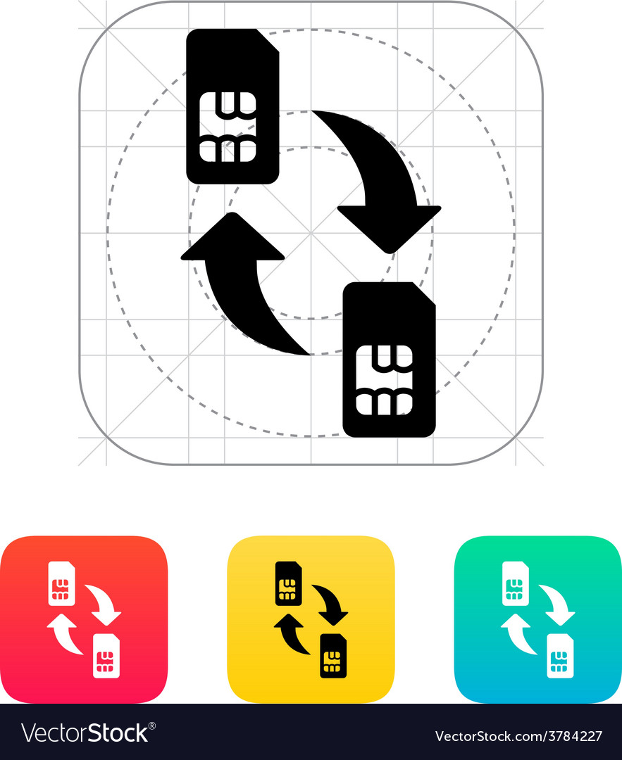 Replacement and exchange sim cards icon vector | Price: 1 Credit (USD $1)