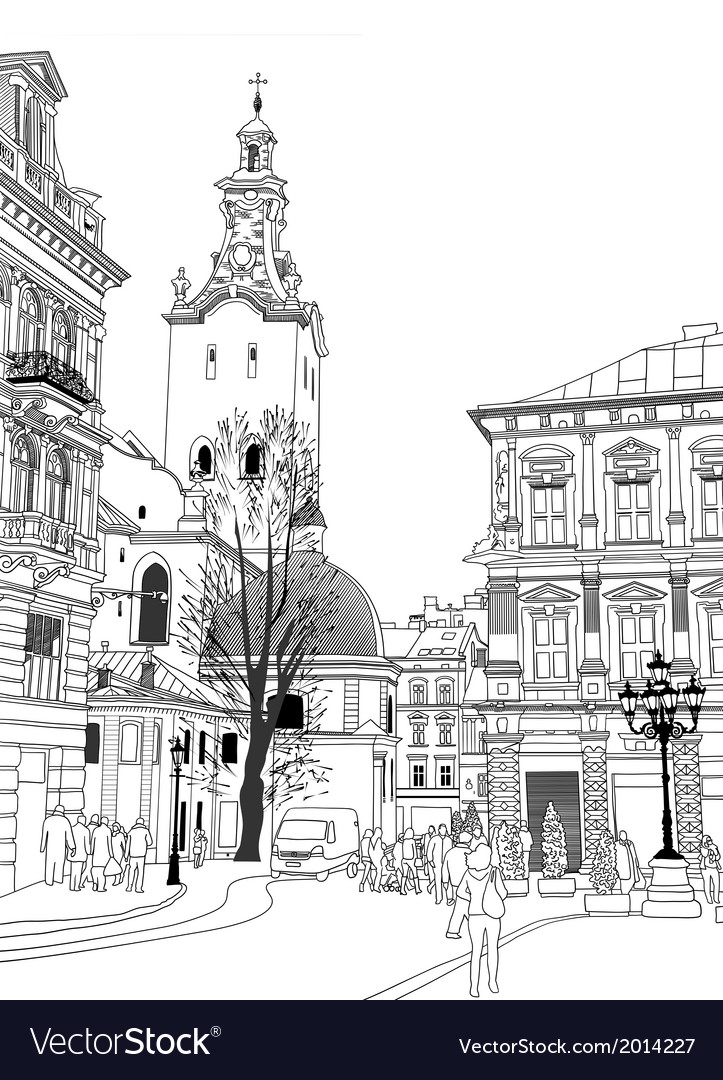 Sketch of lviv historical building vector | Price: 1 Credit (USD $1)