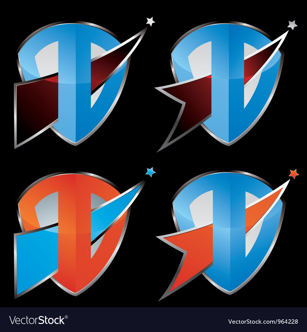 Comet shield icon set vector | Price: 1 Credit (USD $1)