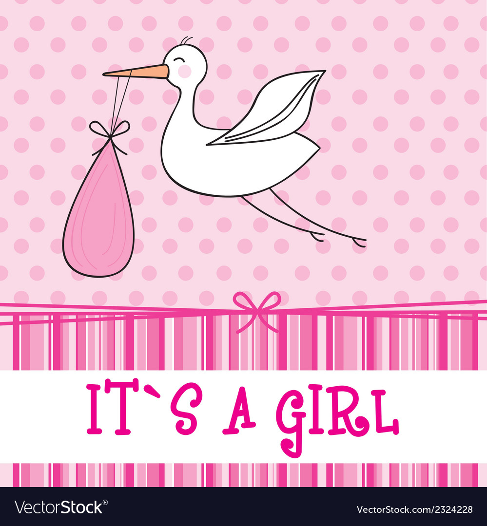 Its a girl with stork  baby shower vector | Price: 1 Credit (USD $1)
