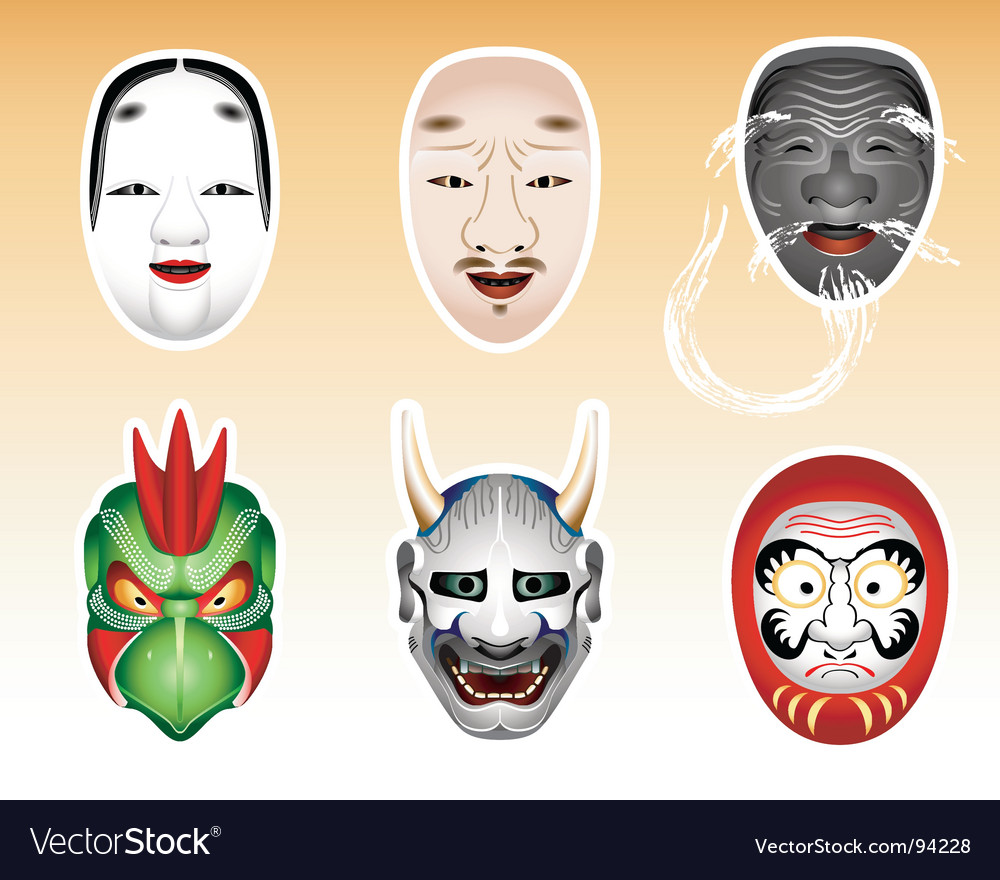 Japanese theatre masks vector | Price: 1 Credit (USD $1)