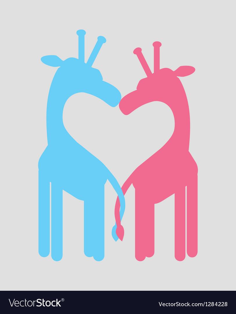 Love heart giraffe couple vector | Price: 1 Credit (USD $1)