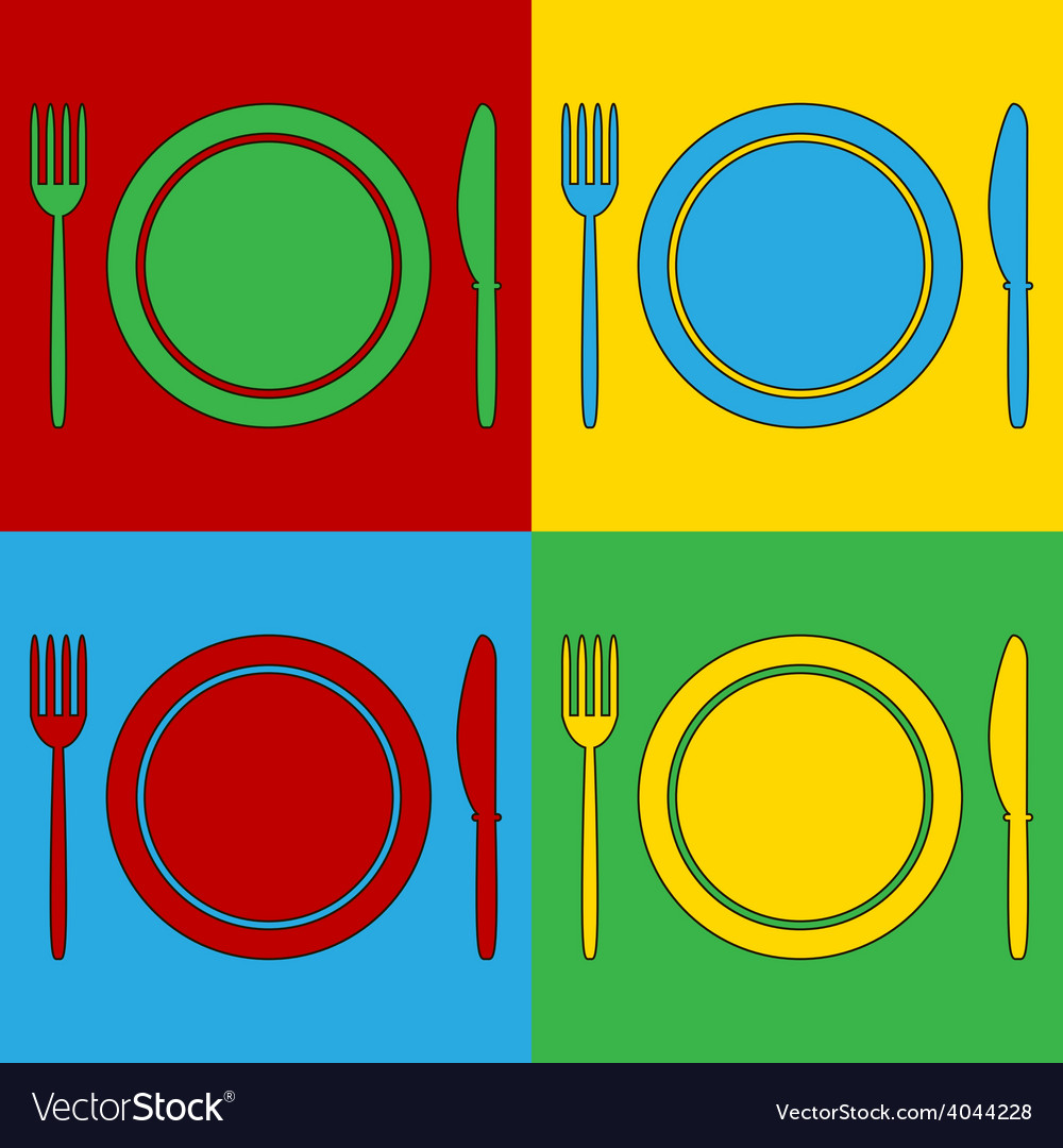 Pop art fork plate and knife icons vector | Price: 1 Credit (USD $1)