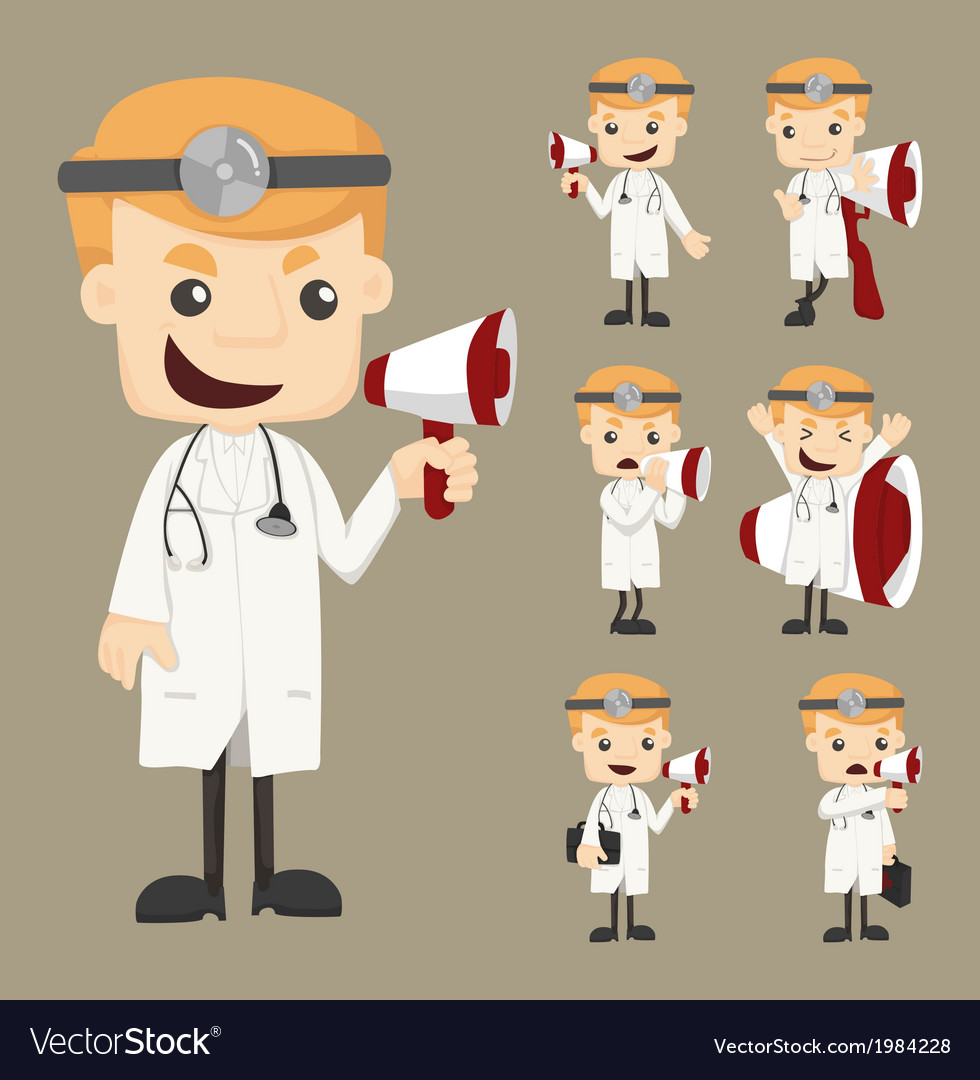 Set of doctor with loud speaker vector | Price: 1 Credit (USD $1)