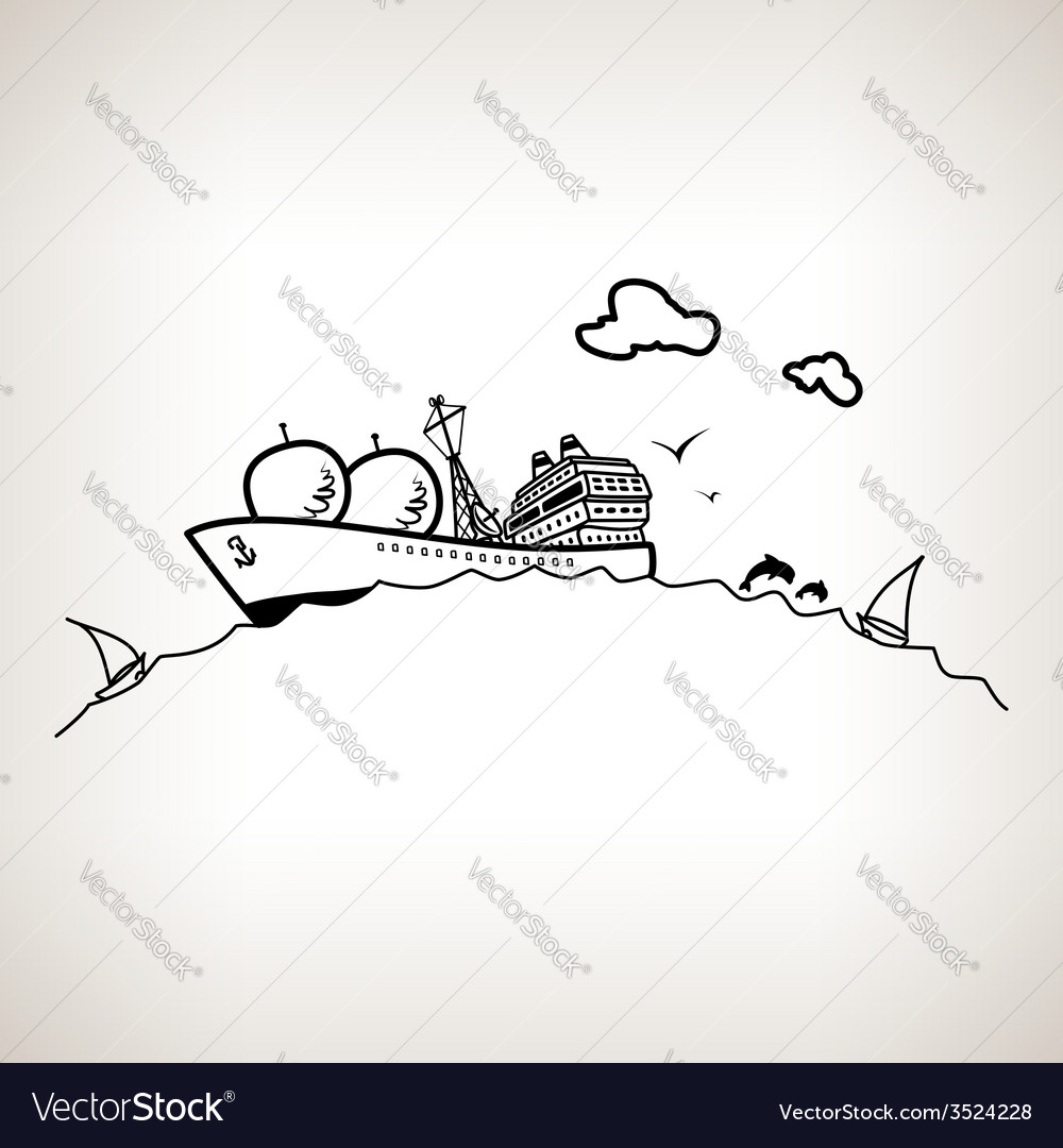 Ship with antenna on a light background vector | Price: 1 Credit (USD $1)