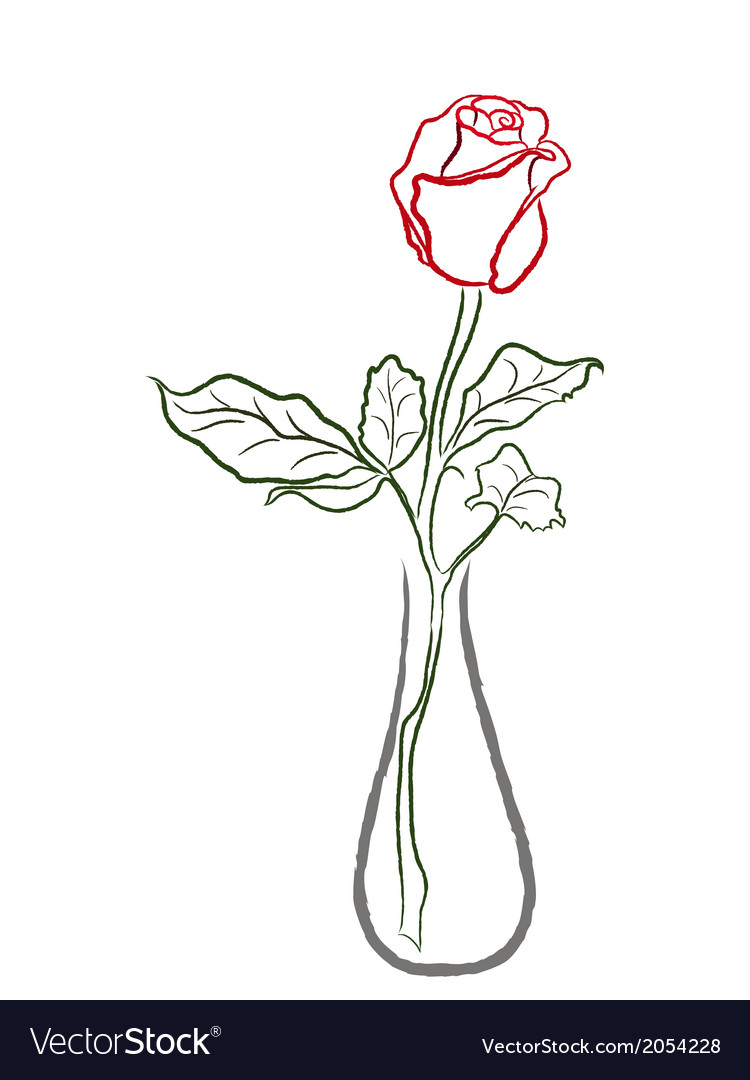 Stylized red rose in a vase vector | Price: 1 Credit (USD $1)