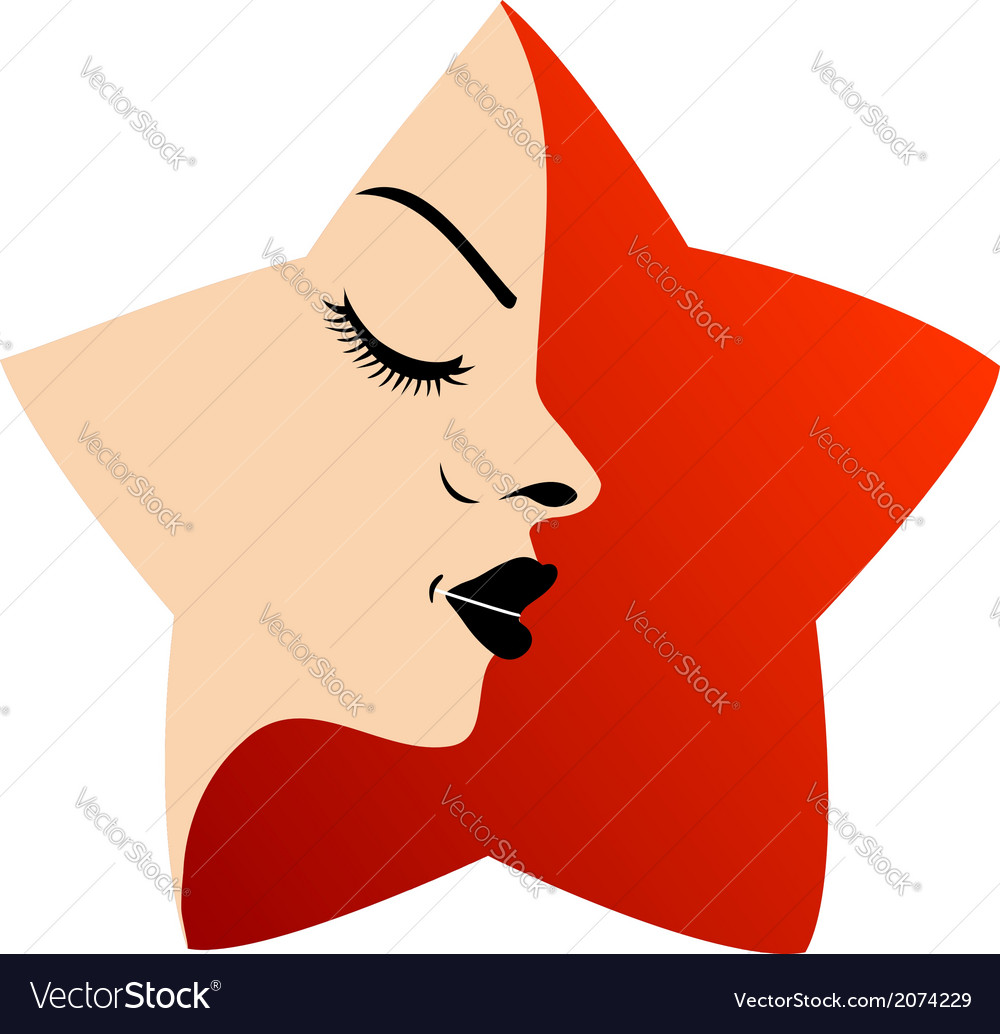 A ladys face in a red flower vector | Price: 1 Credit (USD $1)